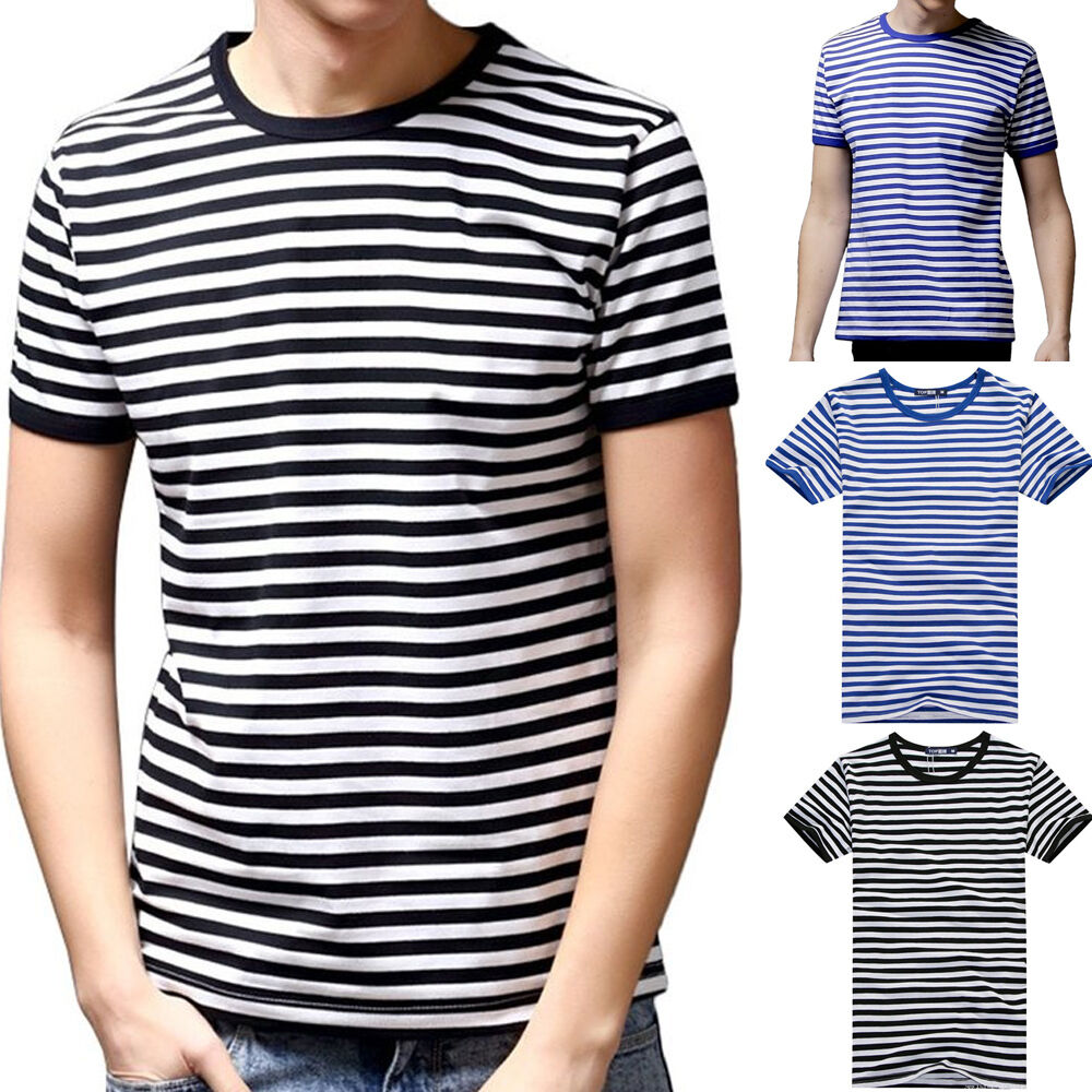 Men s short sleeve black fashion striped t shirts fit crew
