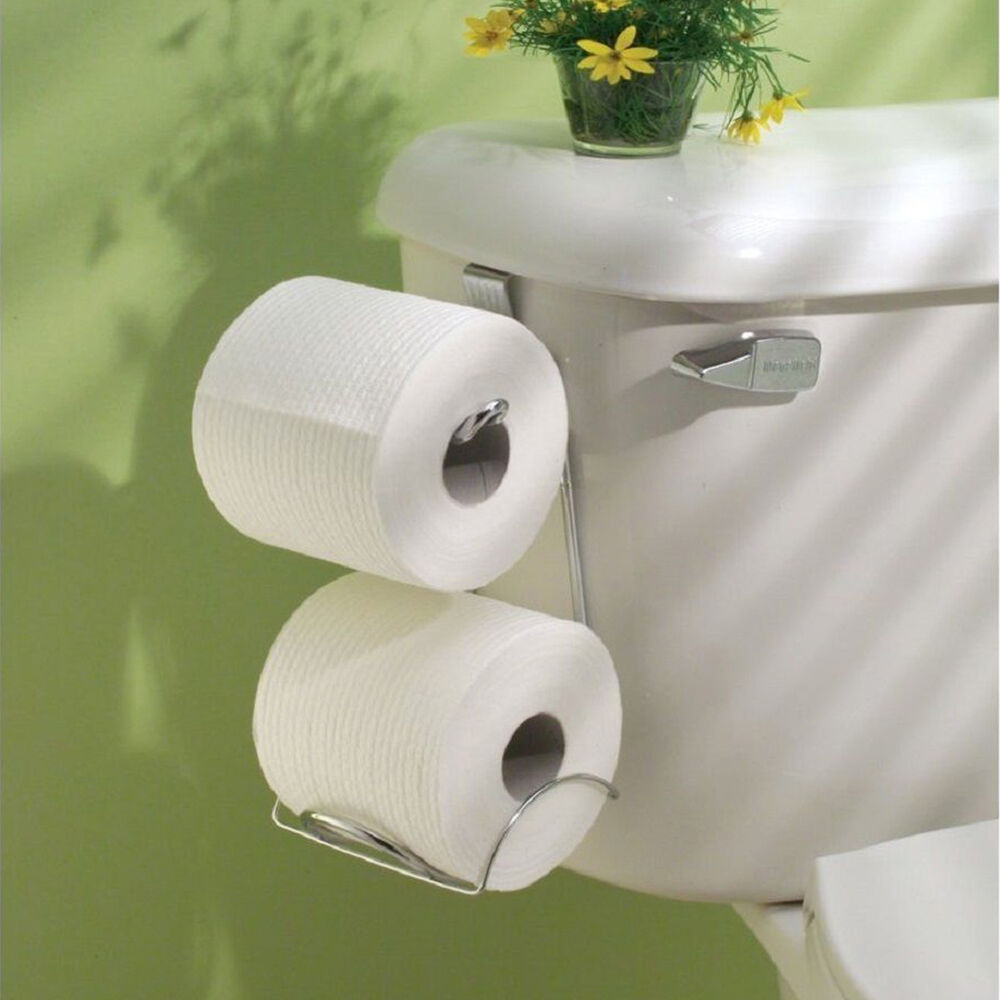 Tank Toilet Paper Holder 2 Roll Bathroom Storage Organizer