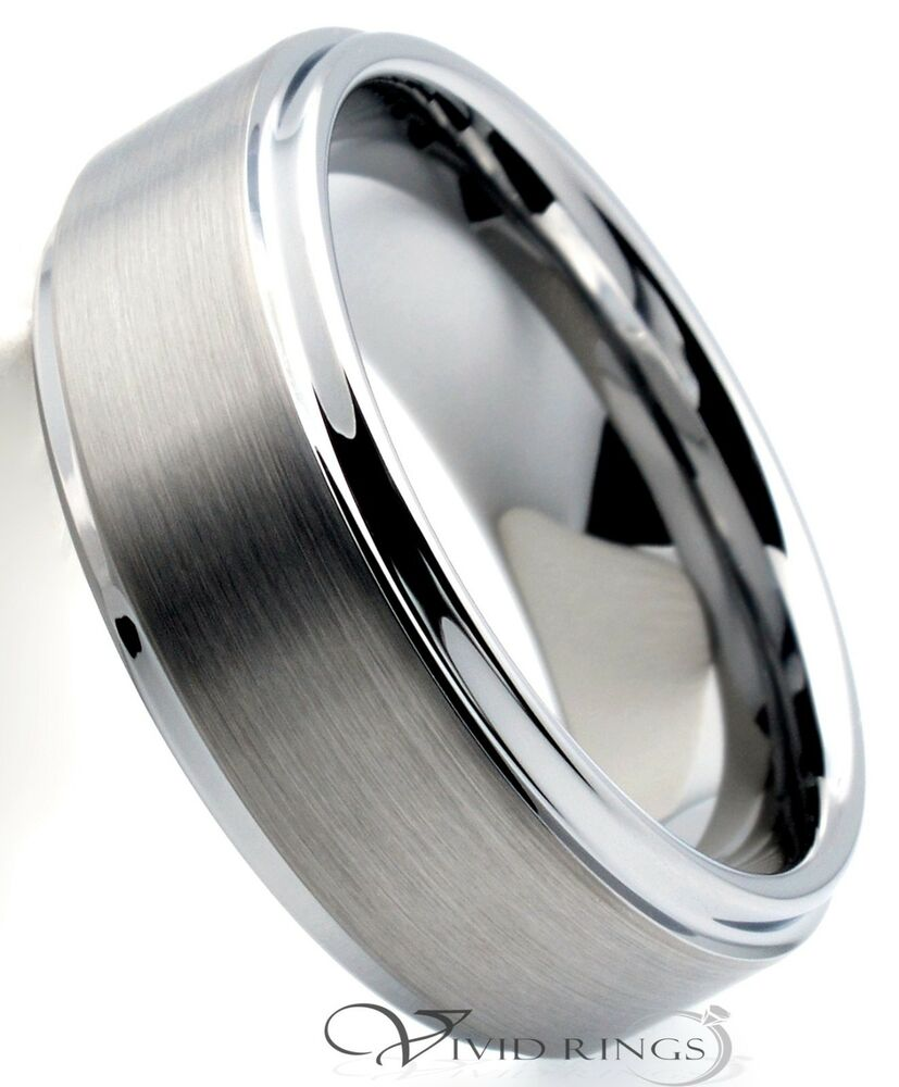 mens tungsten carbide wedding band satin center ring size 7 5 to 14 5