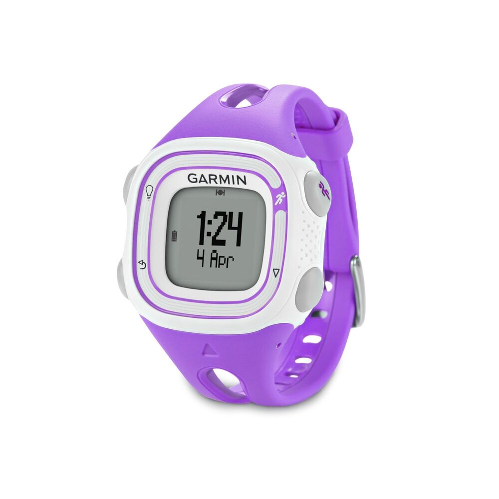 Garmin forerunner 10 gps fitness sport watch violet white 010 01039 17 ebay for Watches garmin