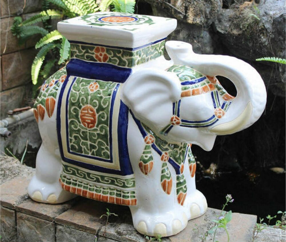 Large Porcelain Elephant Stool Seat Plant Stand Garden