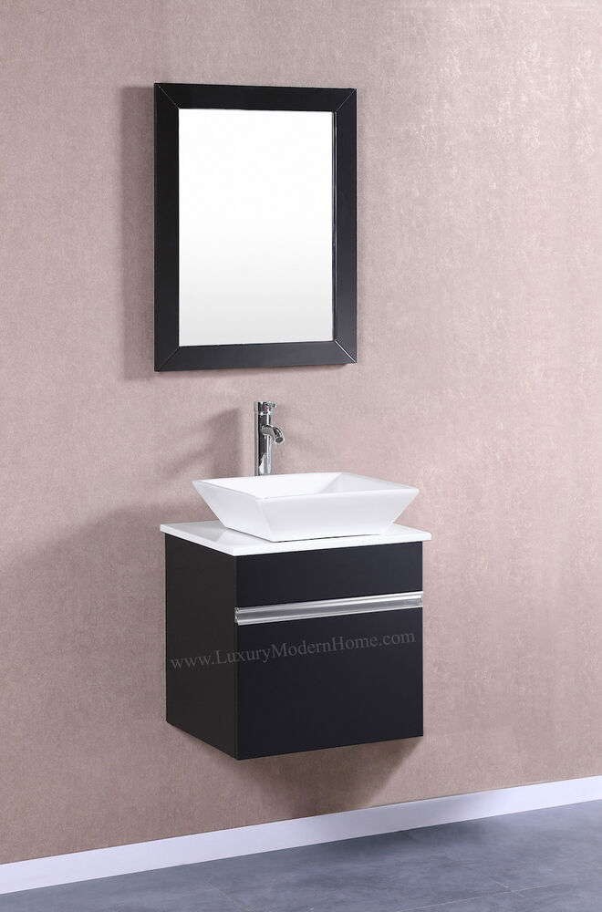 Modular Wall Mount Vessel Vanity Sink 20 Small Black Hung