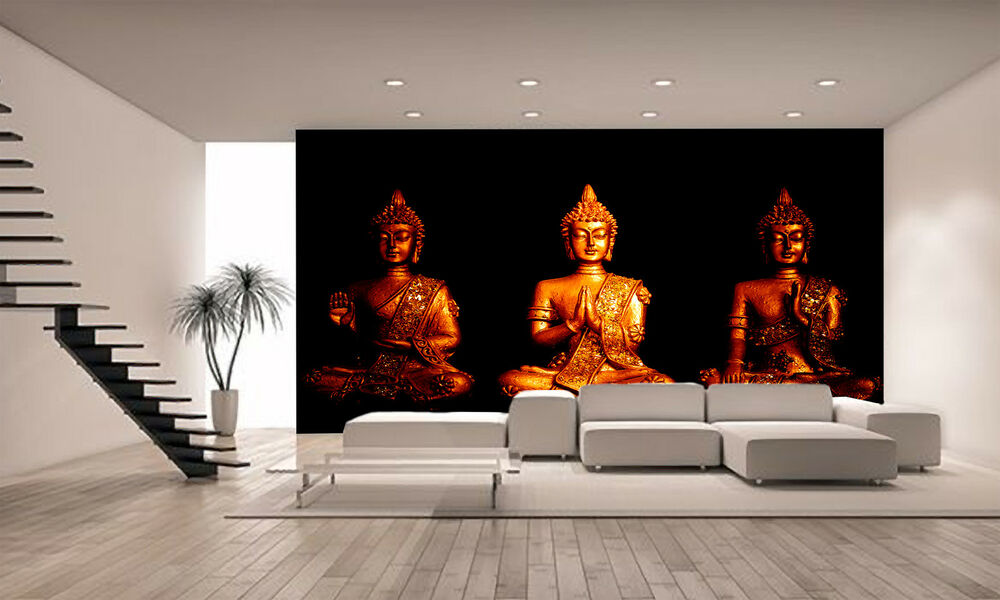 Three statues of buddha wall mural photo wallpaper giant for Buddha mural wallpaper