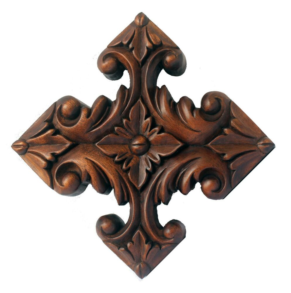 Outstanding relief carved cross onlay pediment wood ebay