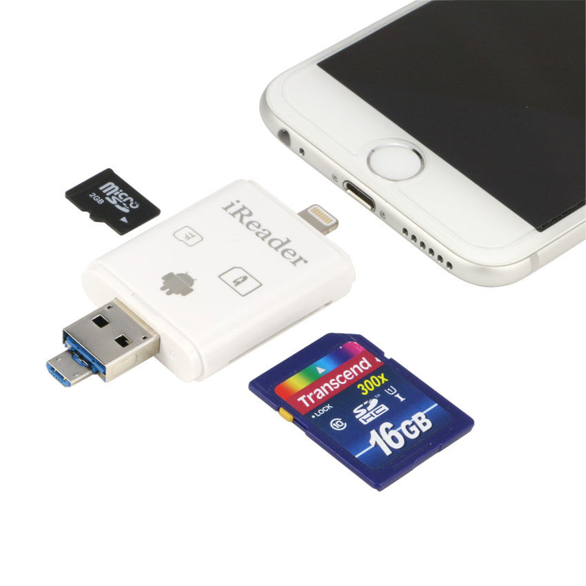 ireader sd micro tf card reader for iphone 6s 5 mini 2 faster than i flashdrive ebay. Black Bedroom Furniture Sets. Home Design Ideas