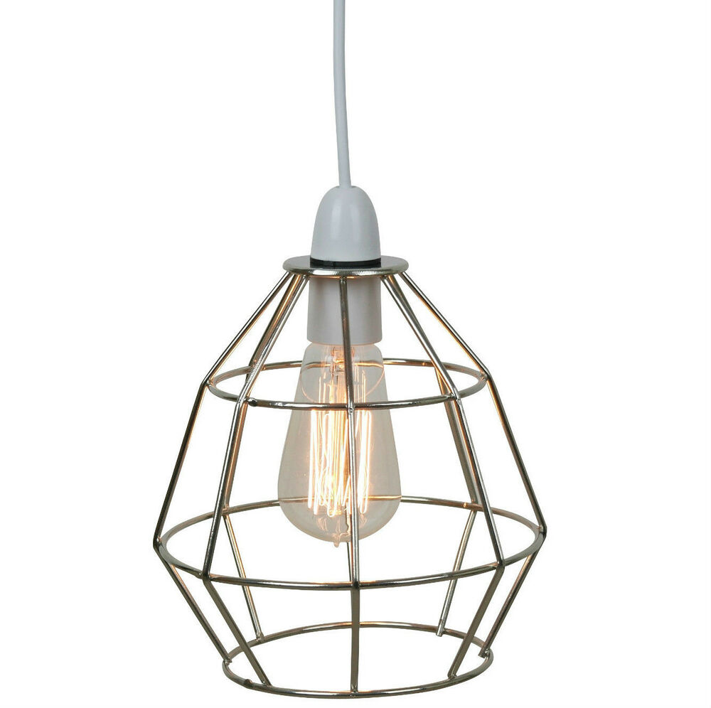 Chrome industrial style cage ceiling pendant light lamp for Industrial bulb pendant