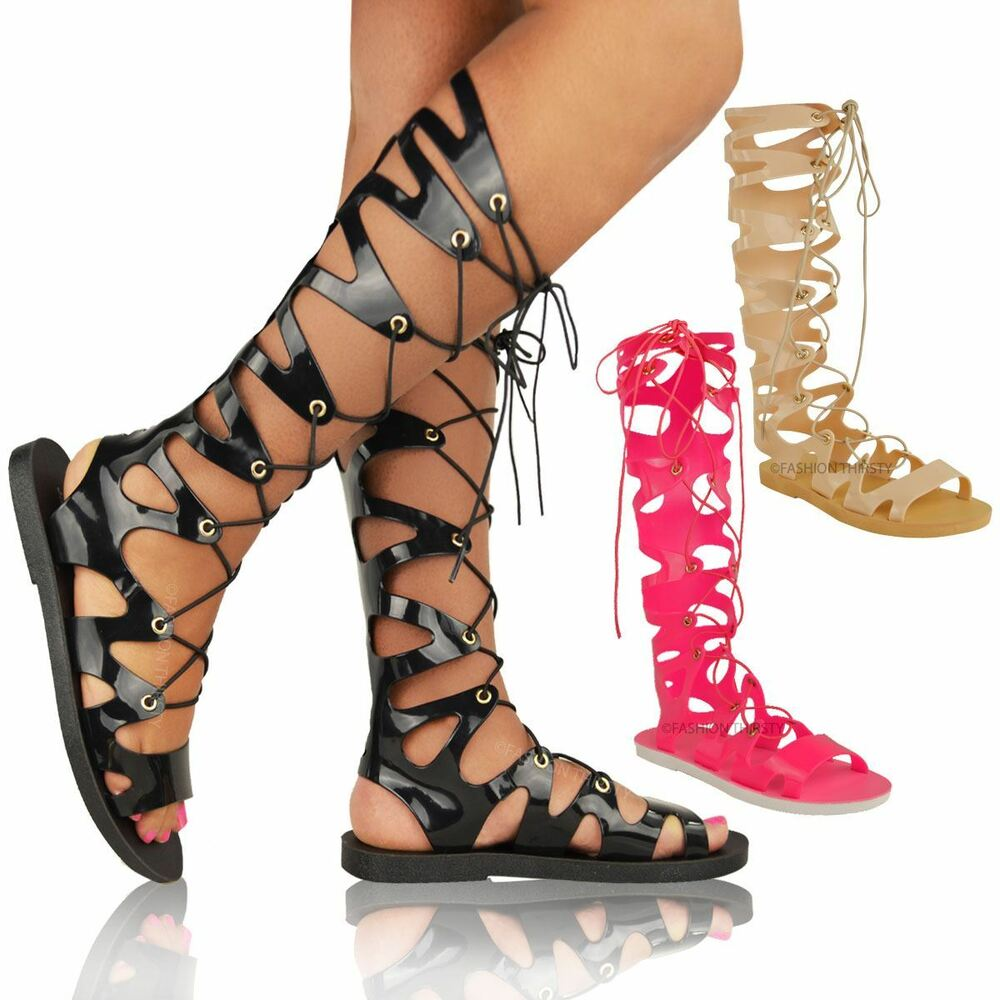 Womens Ladies Knee High Lace Up Jelly Sandals Gladiator Flat Summer Shoes Size  Ebay-3183