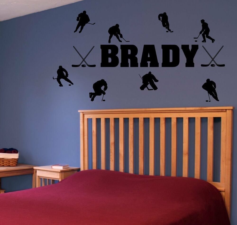 Hockey Wall Decal Large Decal Custom Name Decal Boys: Personalized Name & Hockey Players Vinyl Wall Decal