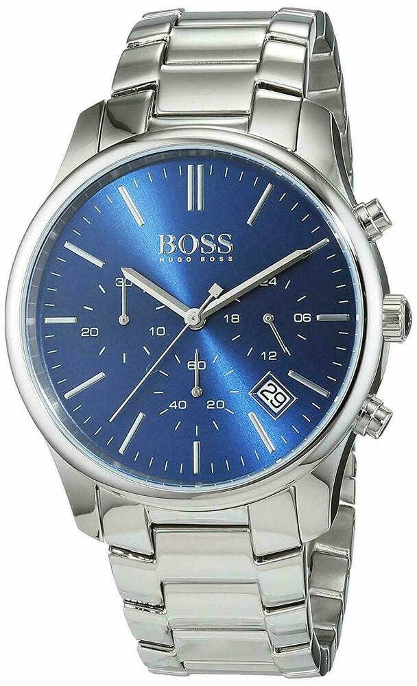 Details about NEW WITH BOX HUGO BOSS 1513434 TIME ONE STEEL BLUE FACE  CHRONOGRAPH WATCH 4b97df44e596