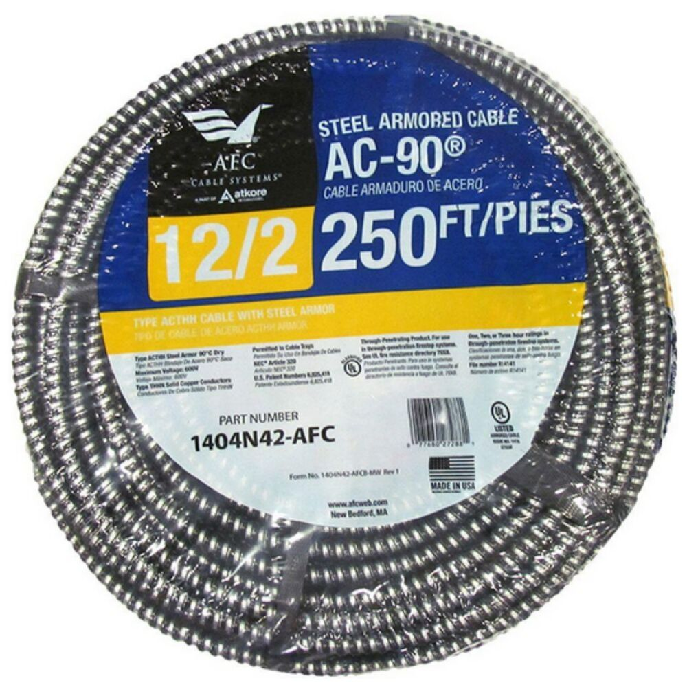 Armored Electrical Wire Cable 12 2 Bx Ac 250 Feet Indoor