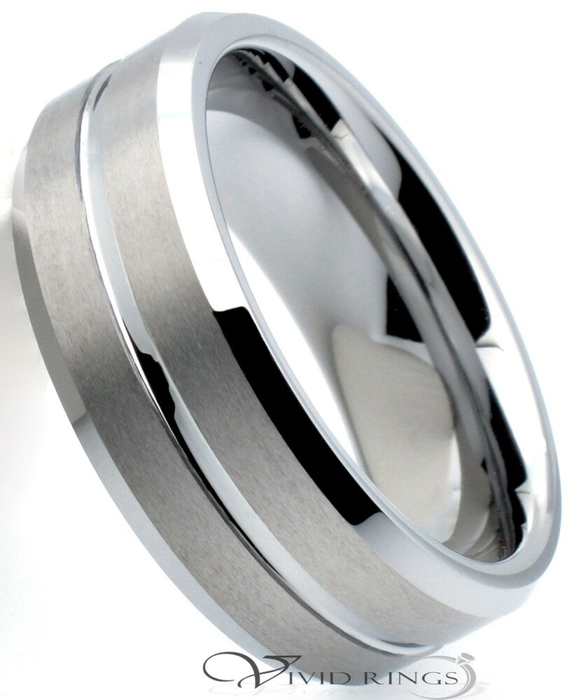 mens tungsten carbide wedding band brushed groove ring 8mm size 7 5 to