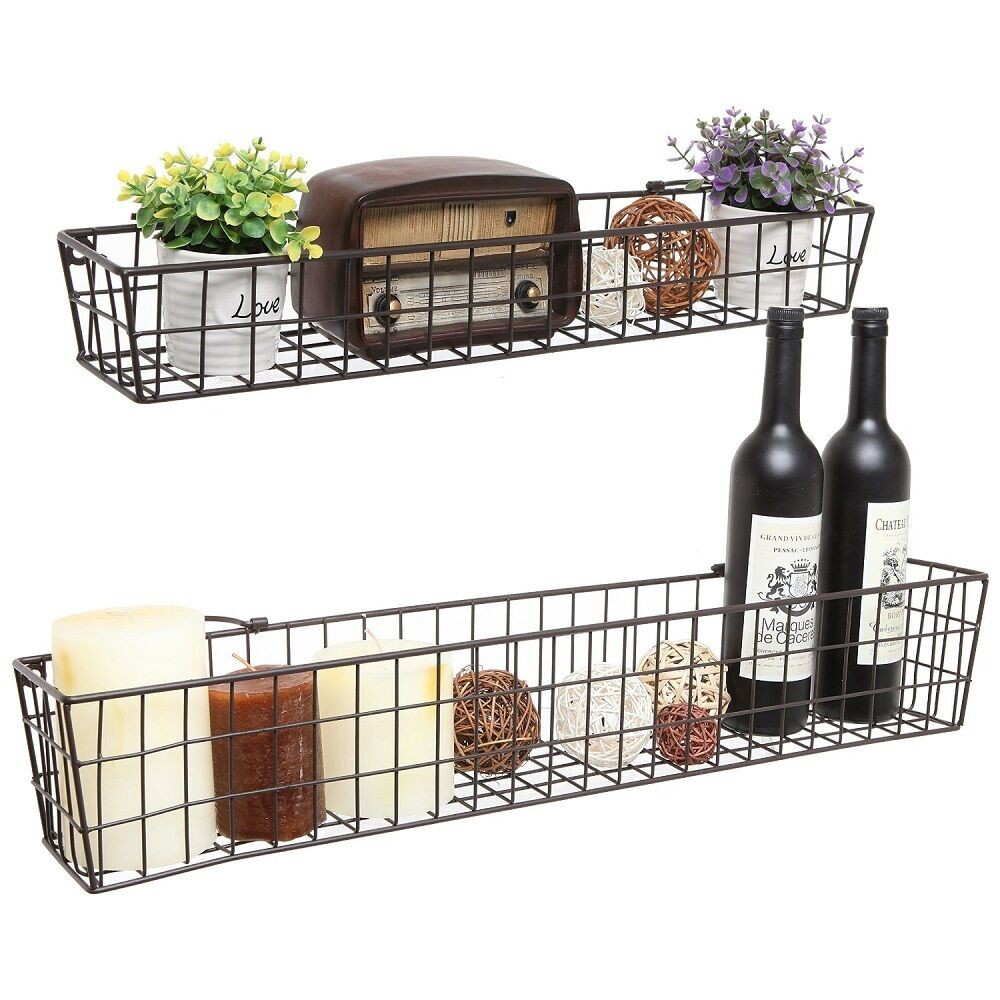 wall shelf basket metal wire shelves storage rack country. Black Bedroom Furniture Sets. Home Design Ideas