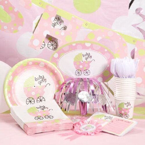 Girl baby carriage baby shower decorations ebay for Baby shower decoration store