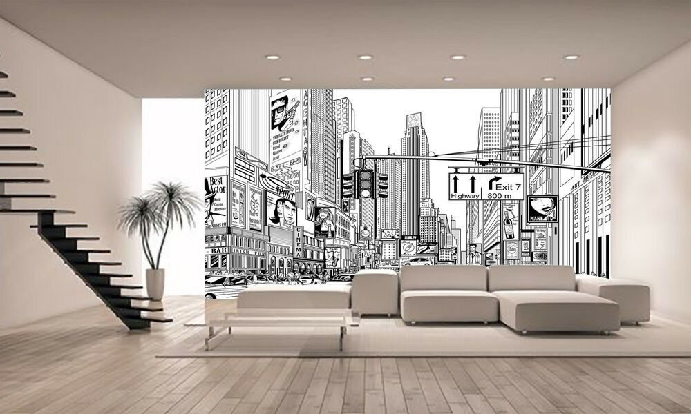 street in new york wall mural photo wallpaper giant decor. Black Bedroom Furniture Sets. Home Design Ideas