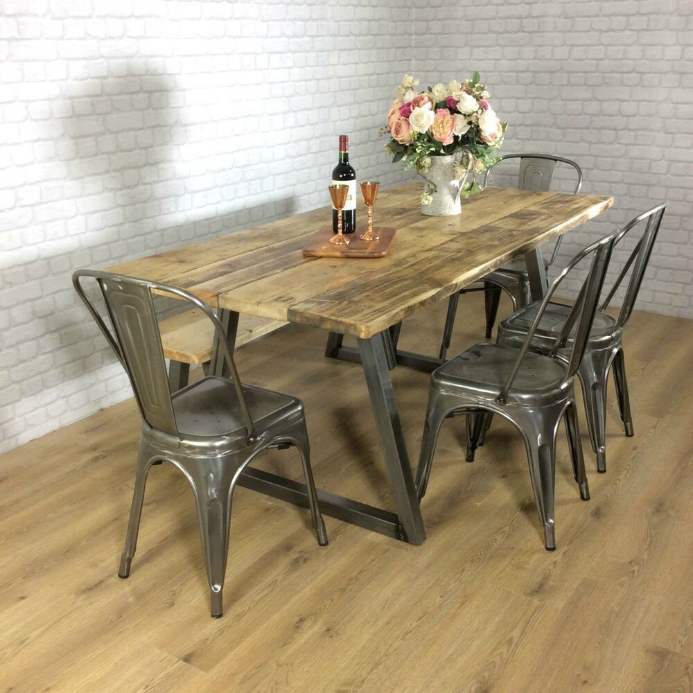 Industrial Rustic Calia Style Dining Table Vintage Reclaimed Wood Plank Top O