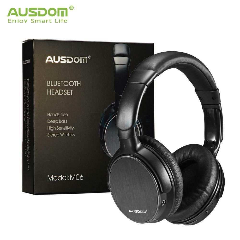 ausdom m06 wired wireless bluetooth headphone over ear stereo headsets w mic ebay. Black Bedroom Furniture Sets. Home Design Ideas