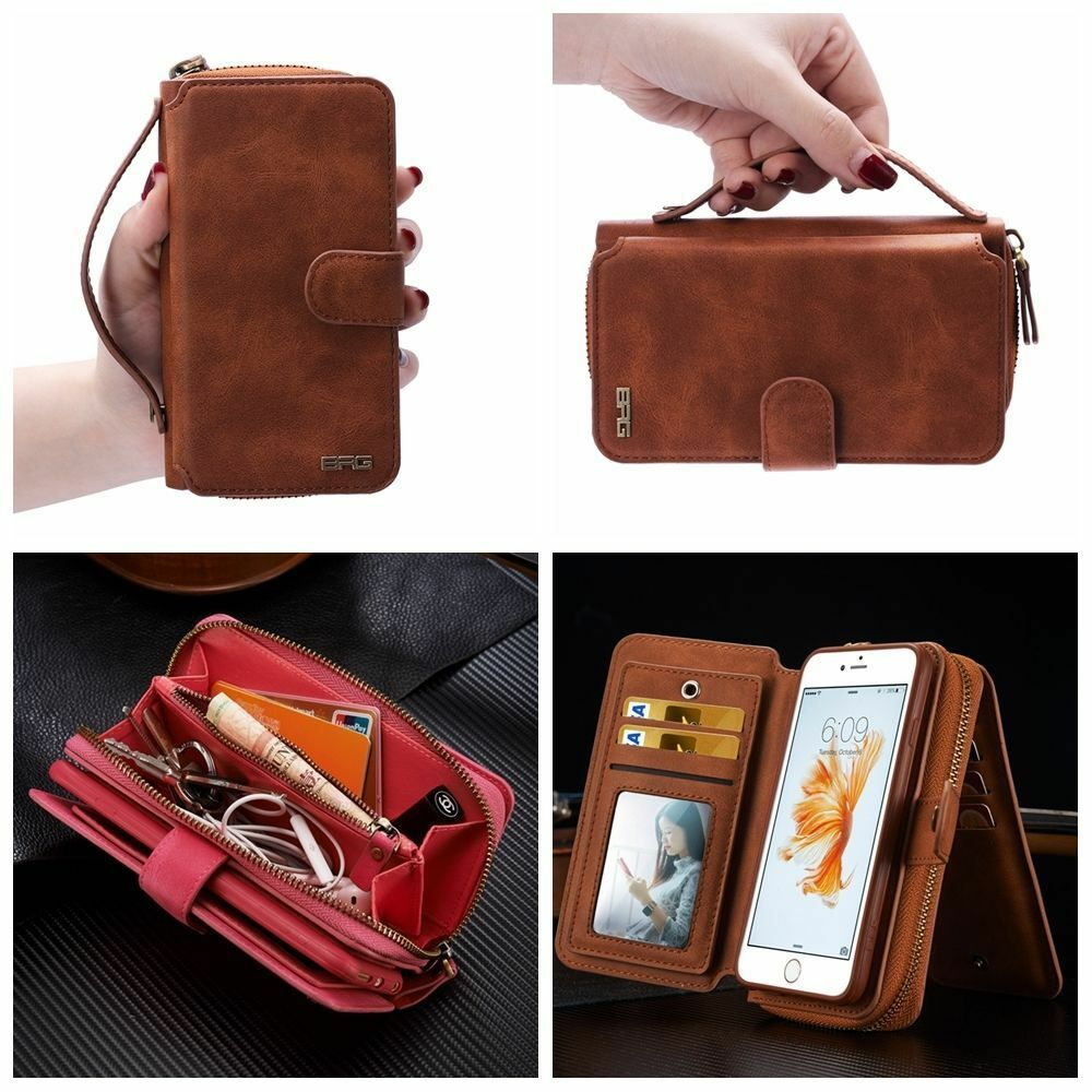 wallet for iphone 6 plus magnetic leather wallet zip purse flip handbag cover 18167