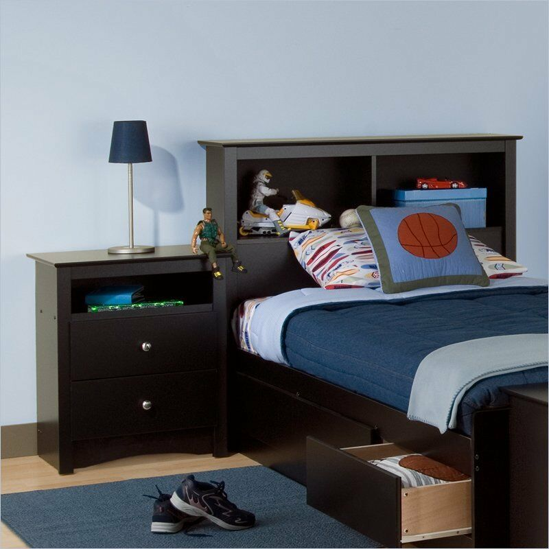 Prepac sonoma black twin wood bookcase headboard 2 piece - Bedroom furniture bookcase headboard ...