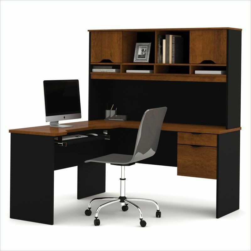 Computer Desk Home Office Workstation Table L-Shape Wood ...