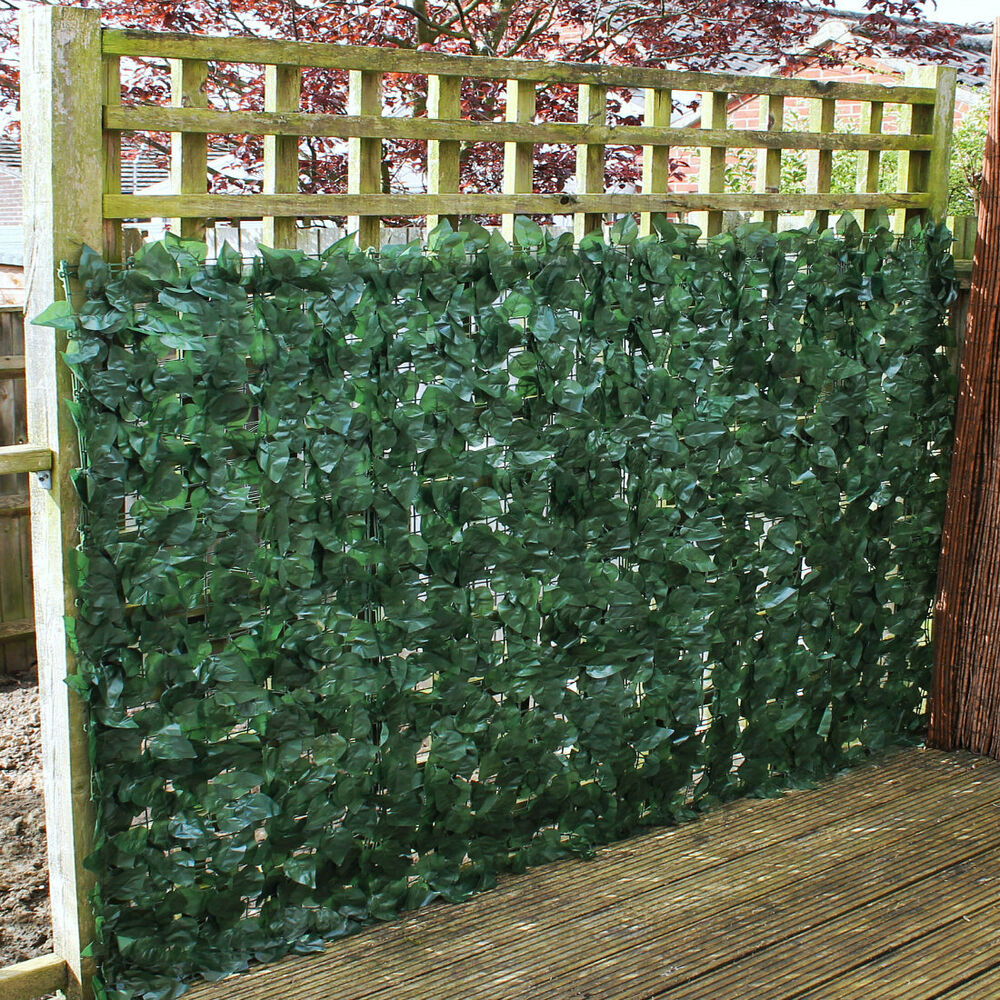 Artificial faux ivy leaf hedge panels on roll privacy for Garden privacy fence