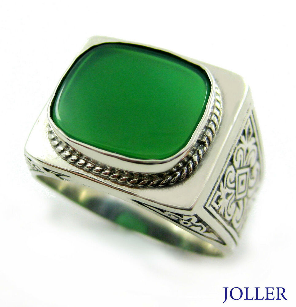 Green Agate Ring Silver