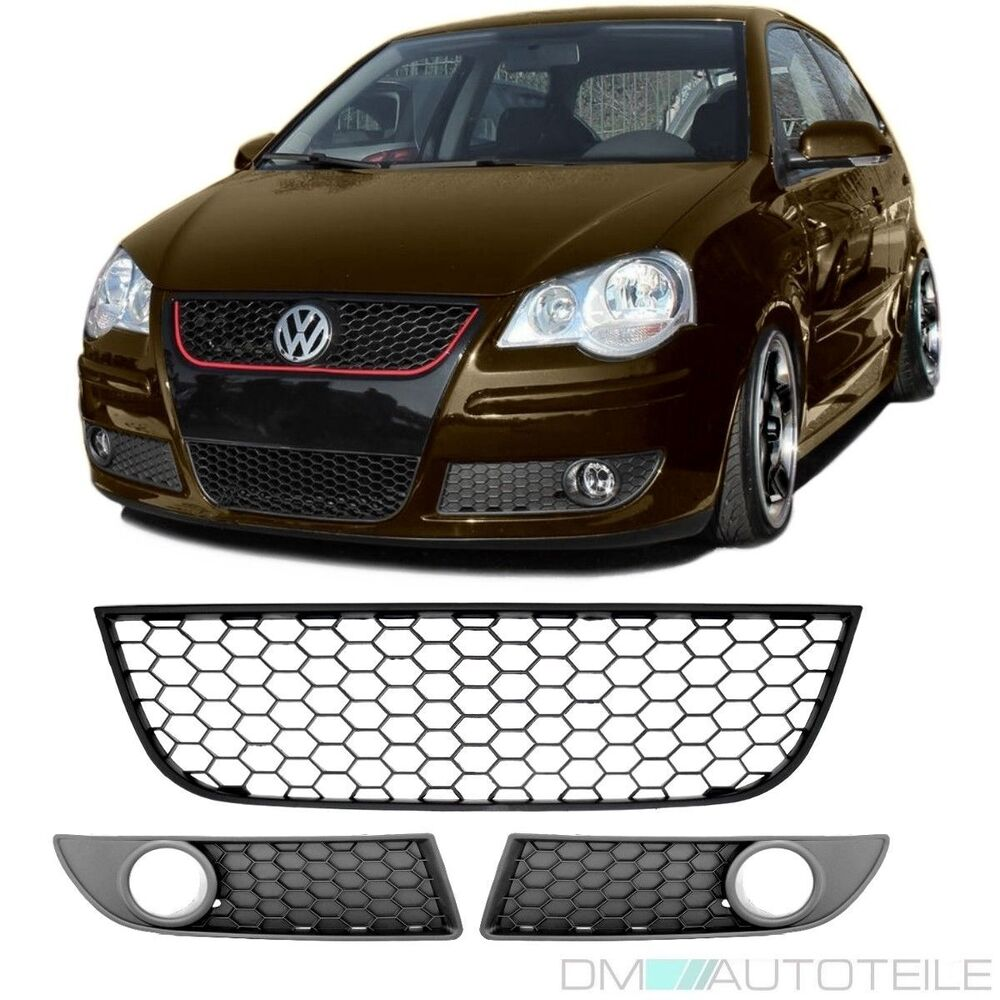 vw polo 9n3 grille calandre sport nids d 39 abeilles set complet gti parechoc 05 09 ebay. Black Bedroom Furniture Sets. Home Design Ideas