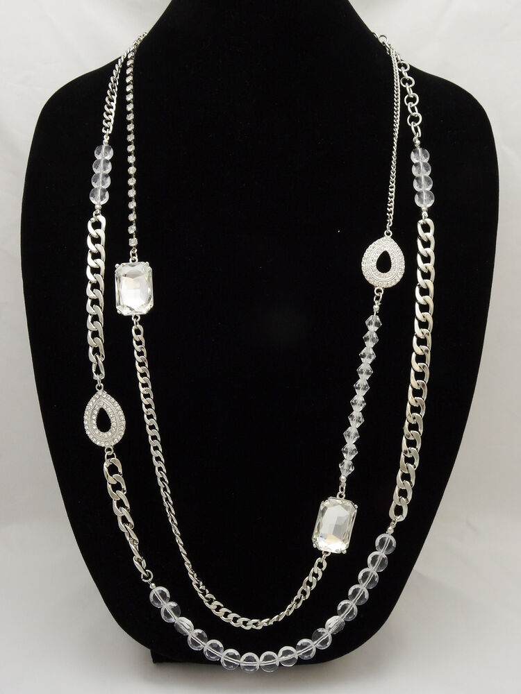Brilliant New High End Silver Tone Crystal Statement
