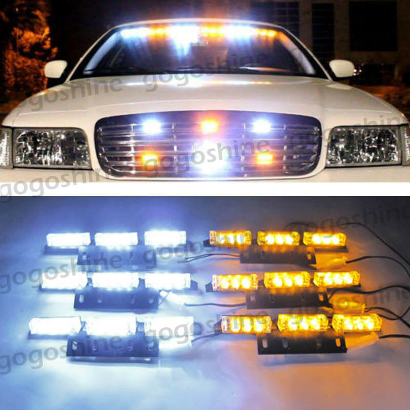 54 led car truck strobe emergency warn light deck dash grille white amber kit ebay. Black Bedroom Furniture Sets. Home Design Ideas