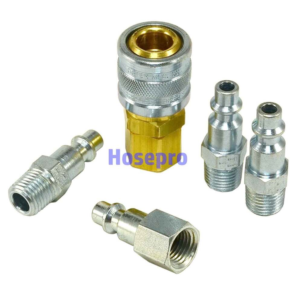 1 4 Npt Air Hose Fittings M Style Tool Line Compressor Construction Coupler Plug Ebay
