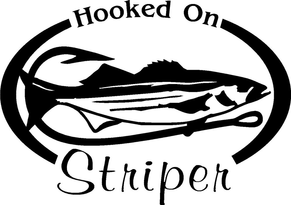 Hooked on stripers salt water fishing trip lure car or for Saltwater fishing decals