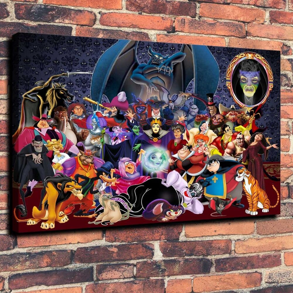 Walt Disney Villains Art Print Oil Painting on Canvas Home