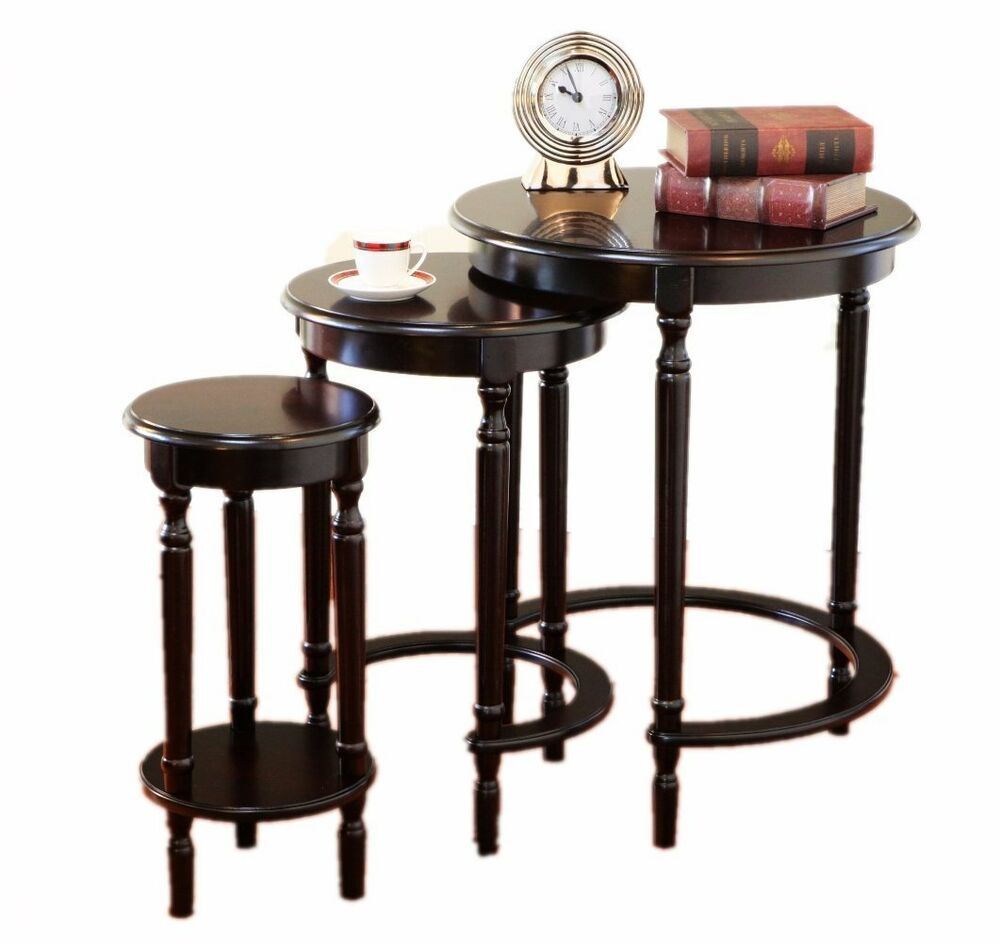 Frenchi Furniture Set Of 3 Round Nesting Tables In Cherry
