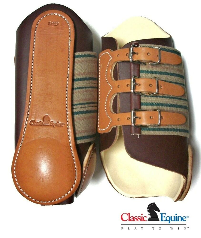 classic equine protective leather splint boots lrg