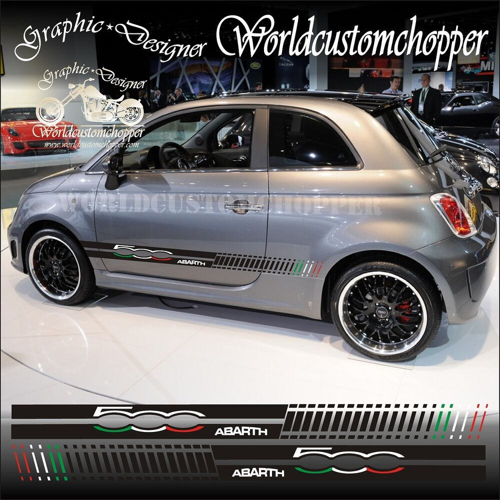 kit fasce adesive fiat 500 abarth tricolore auto tuning ebay. Black Bedroom Furniture Sets. Home Design Ideas