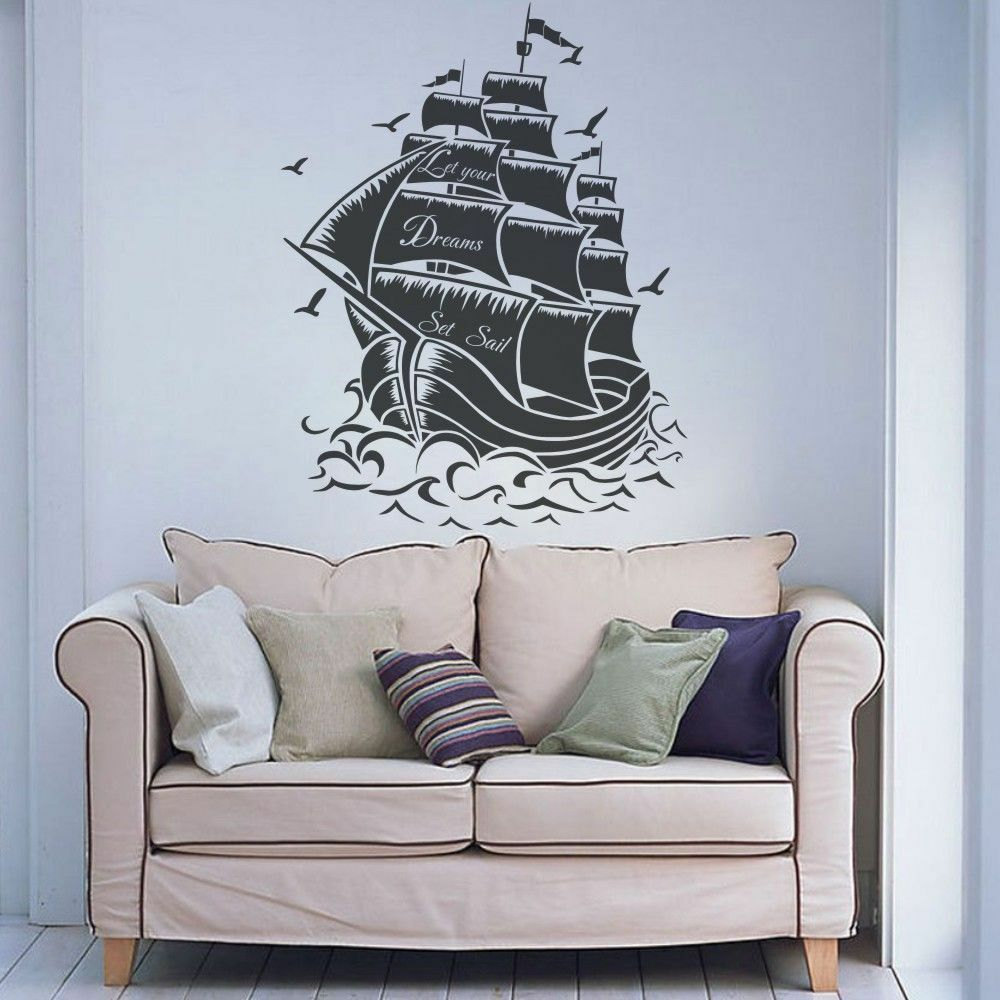 pirate ship inspiration wall decal let your dream sea boat baby room vinyl decor ebay. Black Bedroom Furniture Sets. Home Design Ideas