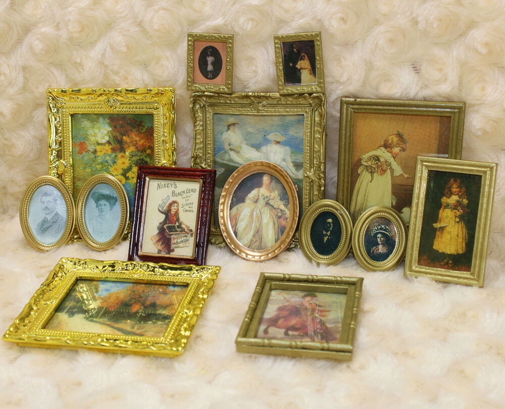 1 12 dollhouse miniature framed wall painting home decor for Wall decoration items