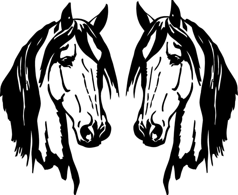 2 Horse Heads Elegant Facing Each Other Small Vinyl Wall