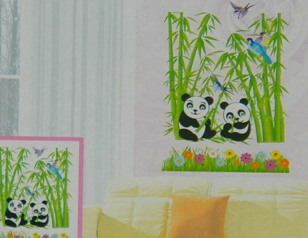 Wall stickers 3d decals panda flowers bamboo room decor 3d for 3d wall decoration stickers