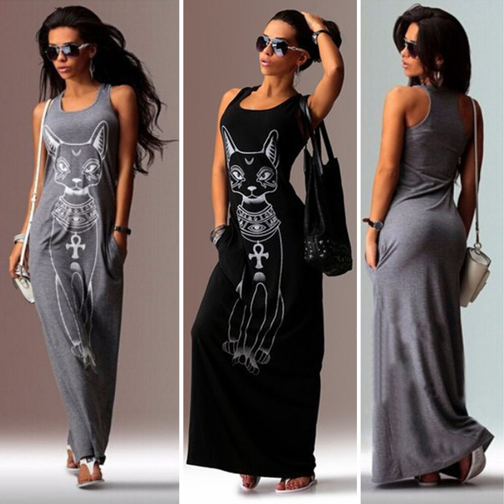 damenmode rmellos kleid boho lang maxikleid strandkleid party longshirt jumper ebay. Black Bedroom Furniture Sets. Home Design Ideas