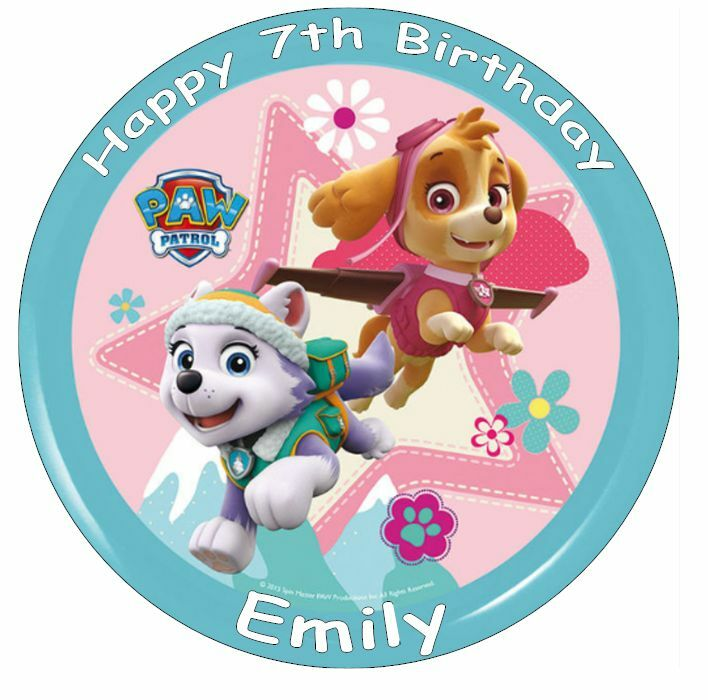 Paw Patrol Skye & Everest Personalised Cake Topper Edible ...