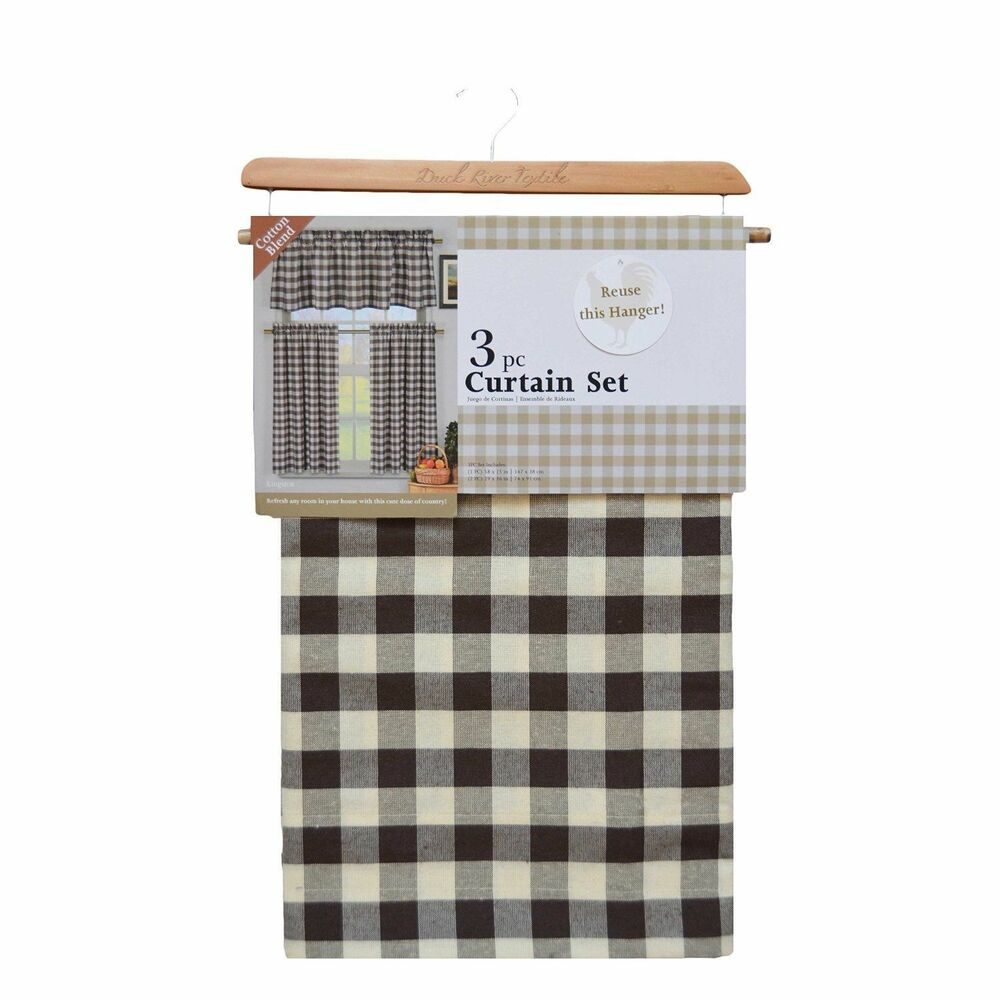 Gingham Curtains Red And White Gingham Curtains Kitchen: Brown White Gingham Checkered Plaid Kitchen Tier Curtain