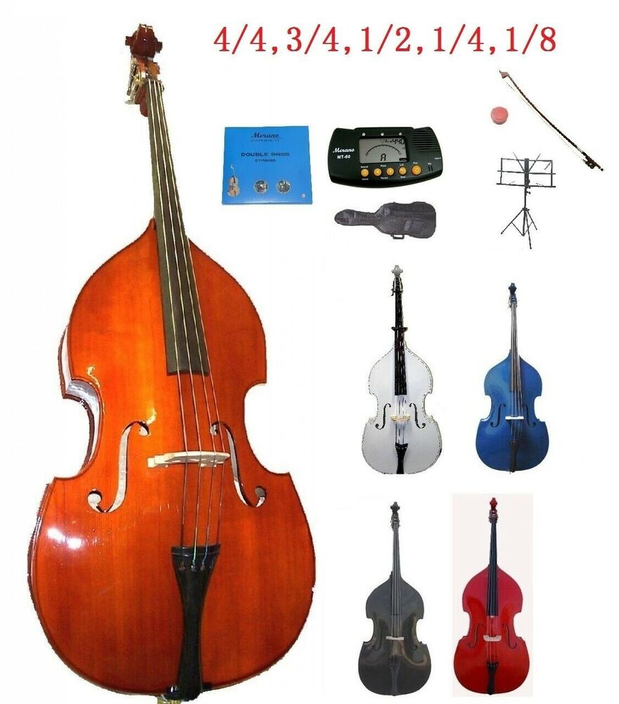 new student upright string double bass carrying soft bag rosin music stand tuner ebay. Black Bedroom Furniture Sets. Home Design Ideas