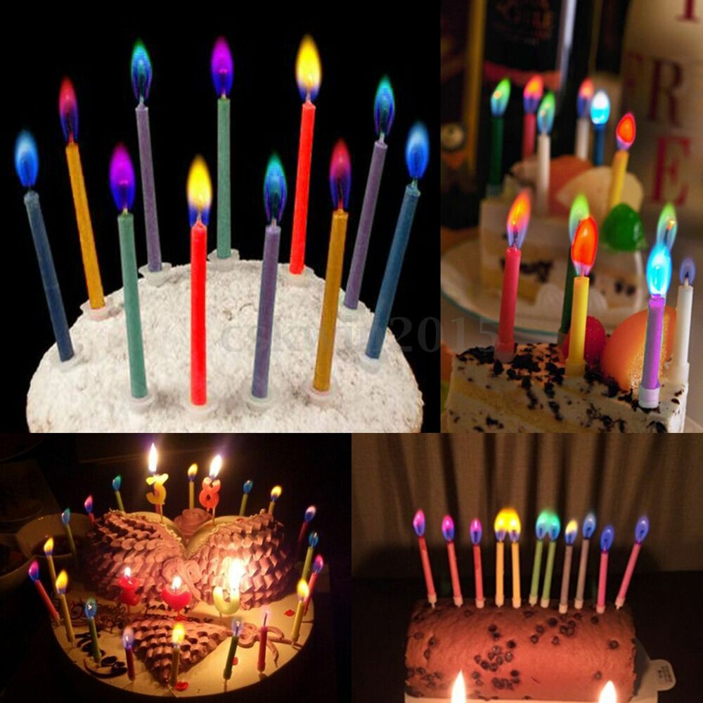 LOT Pack Of 6pcs Colored Candles Safe Flame Taper Party