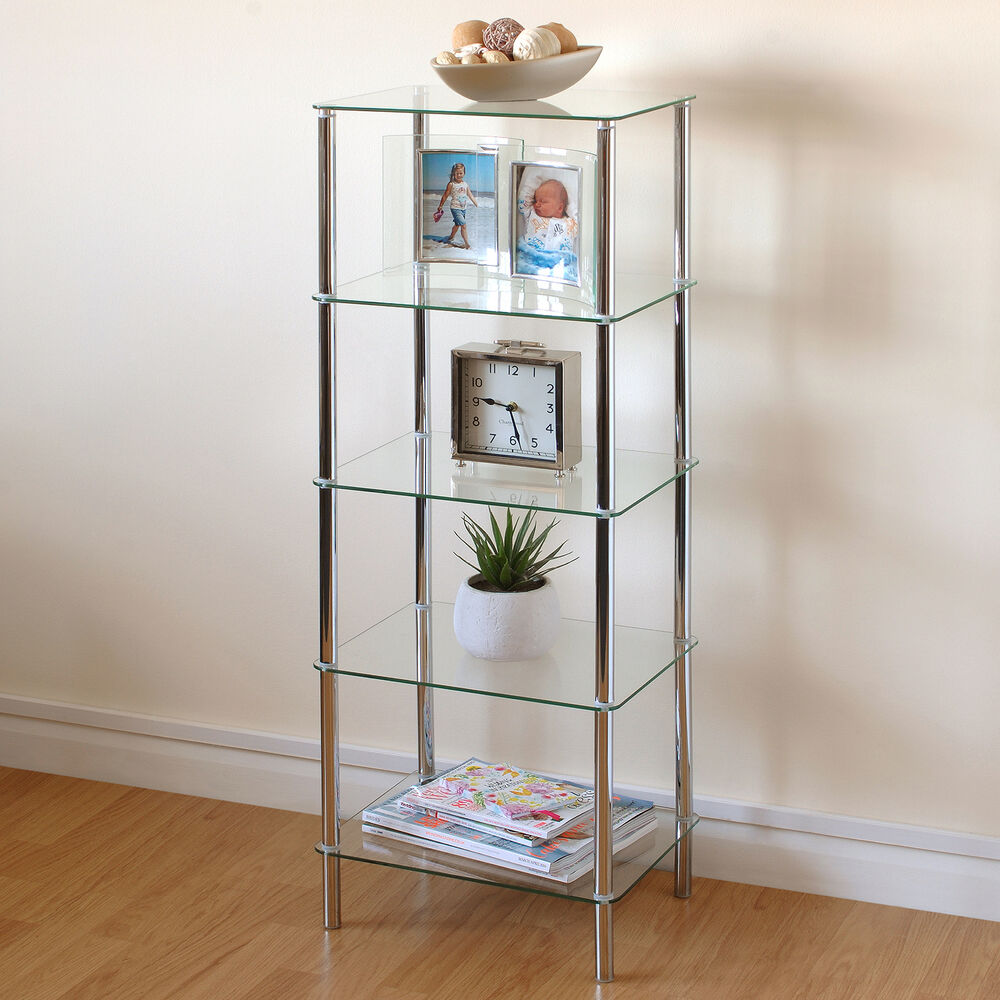 Hartleys clear glass 5 tier side table display shelf unit for Living room unit sets