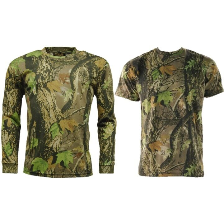 Mens t shirt country camo long short base layer top for Camo fishing shirt