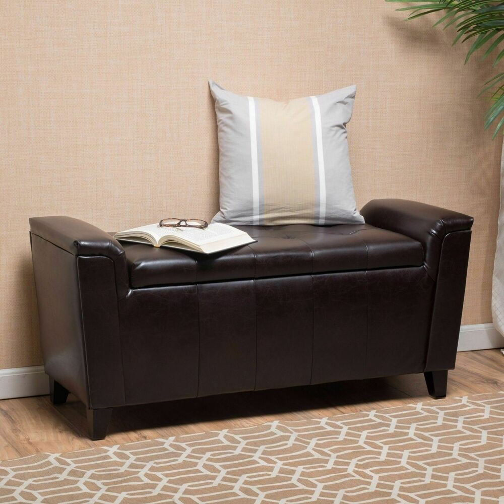 Contemporary brown tufted leather armed storage ottoman - What is an ottoman ...
