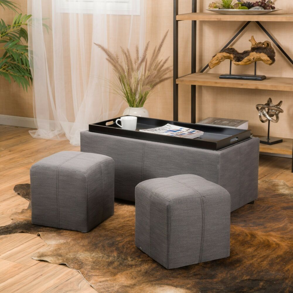 Contemporary Grey 3 Piece Fabric Tray Top Nested Storage