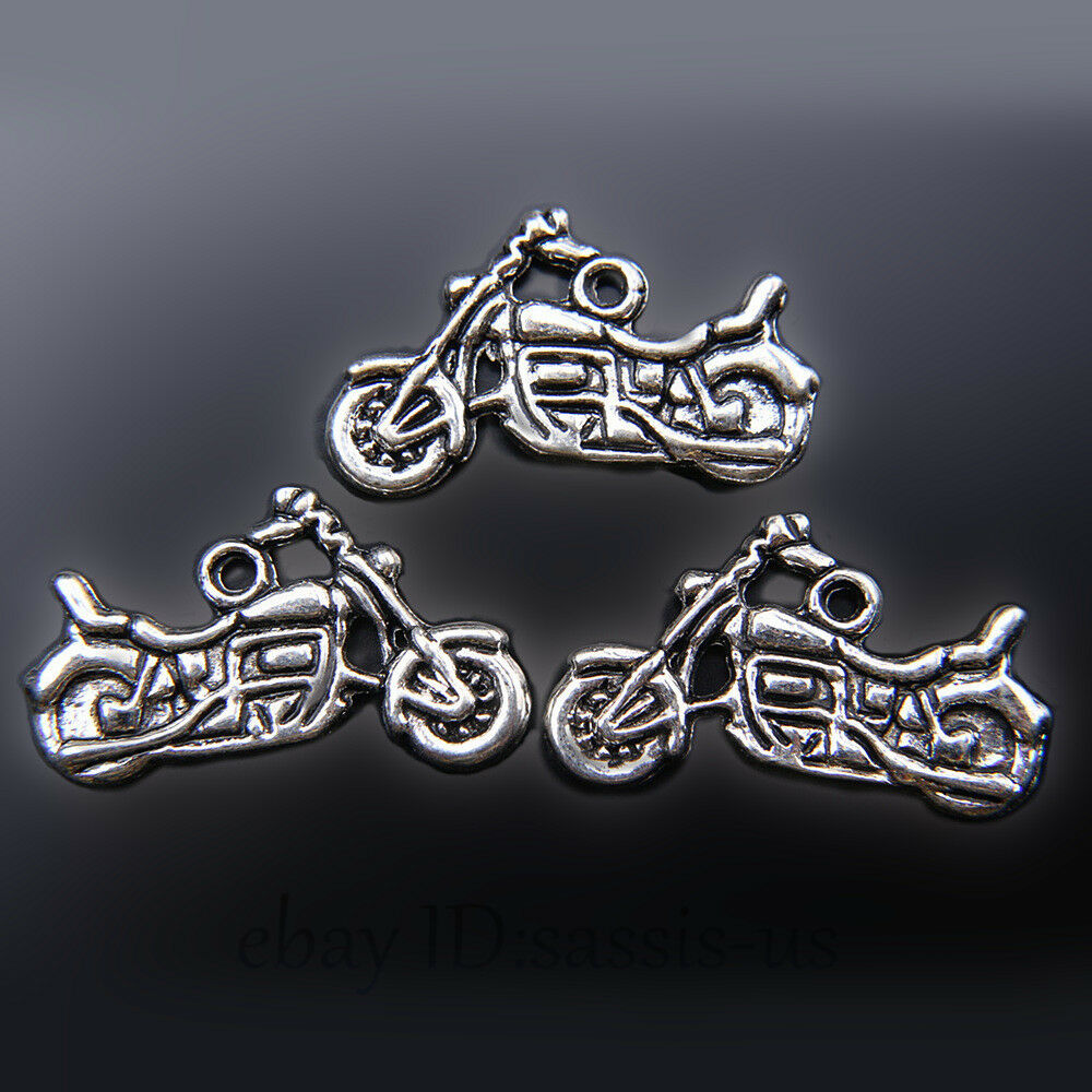 Metal Charm Bracelets: 20 Pieces 24mm Motorcycle Pendant Charms Tibetan Silver
