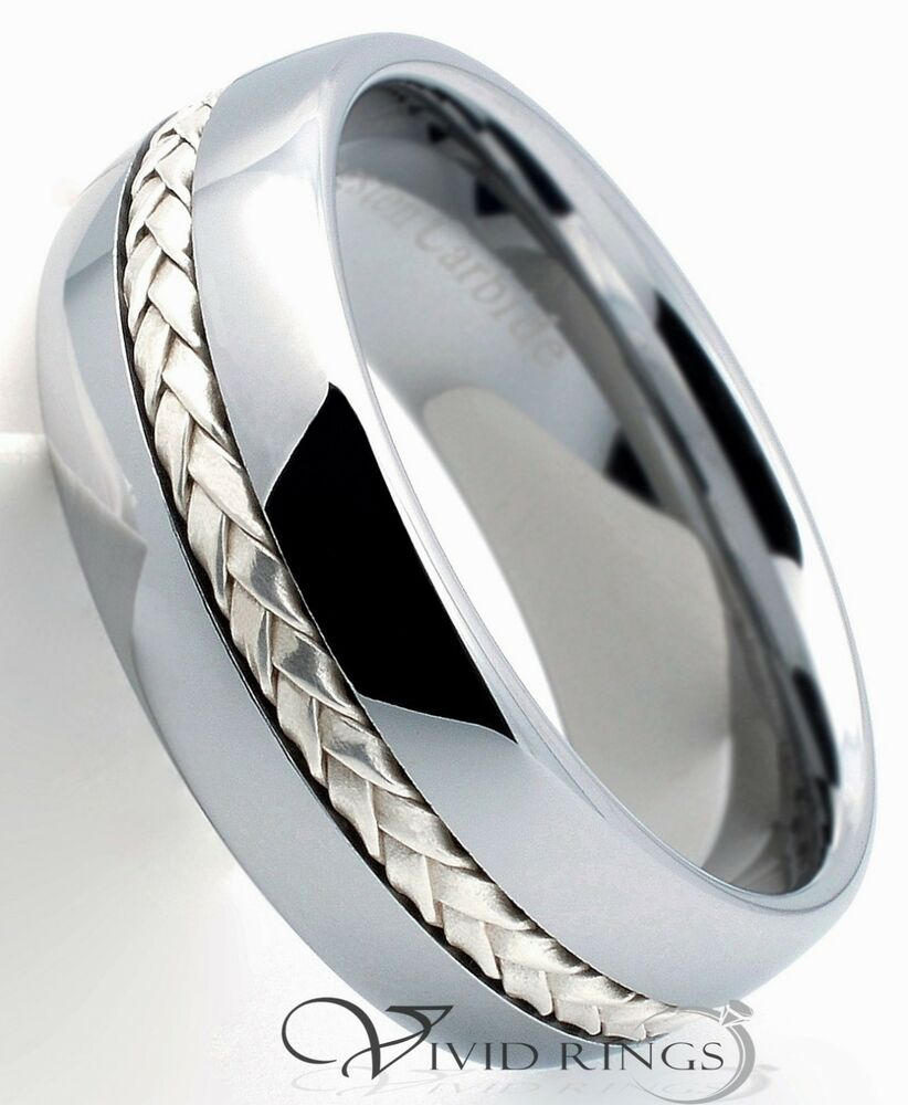 mens tungsten carbide dome wedding band 925 silver inlay. Black Bedroom Furniture Sets. Home Design Ideas
