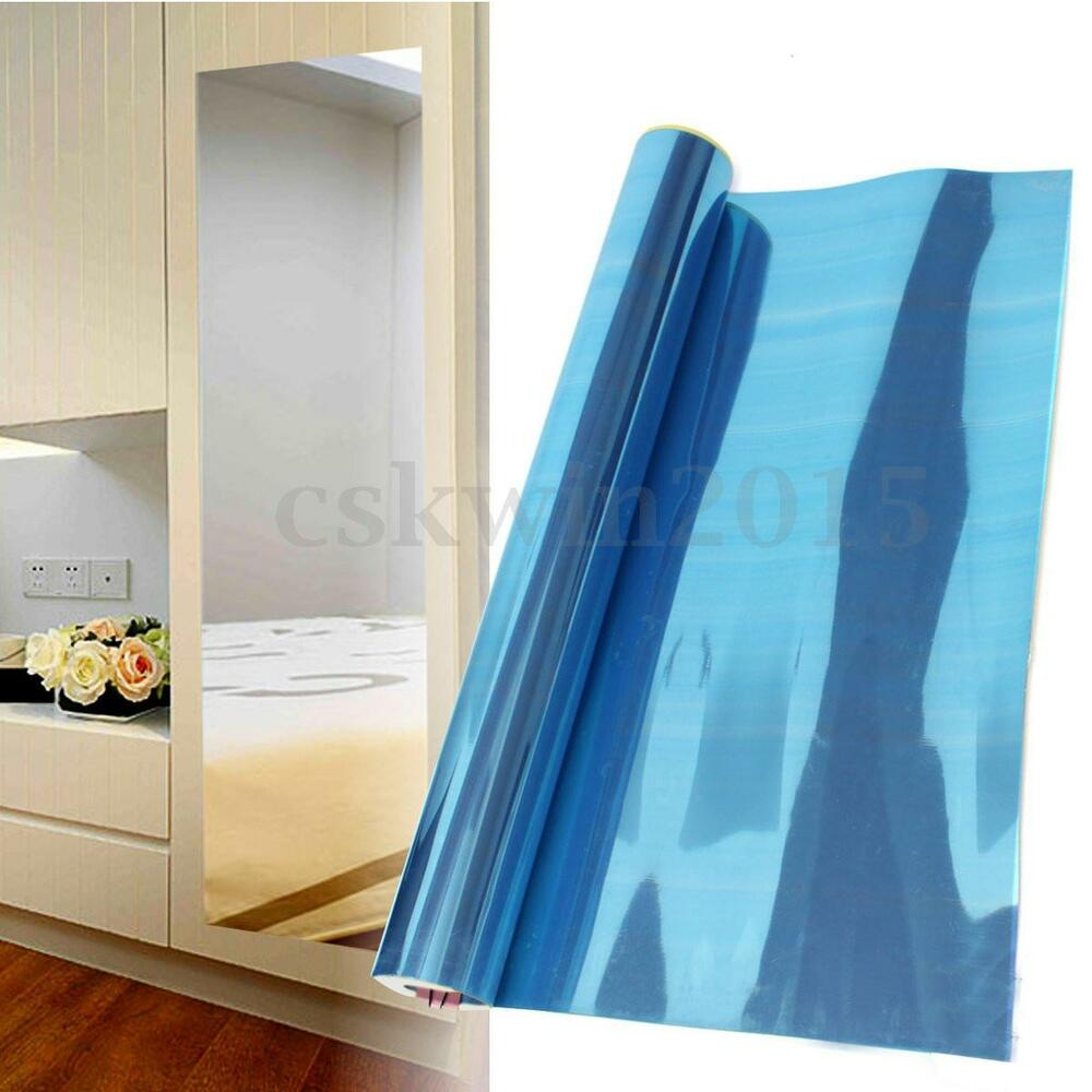 24 x 39 inch wall foil mirror decorative self adhesive wall sticker wall decal ebay. Black Bedroom Furniture Sets. Home Design Ideas